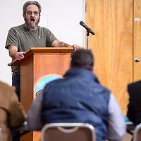 Grants mayor Martin Hicks addresses the Cibola County Legislative Session in Grants Thursday.