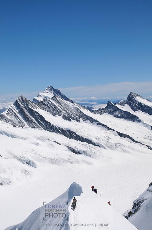 Alpinisten auf der Normalroute am Mönch bei schönem Wetter, Grindelwald, Bern, Schweiz