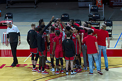 NORMAL, IL - February 27: Redbirds time out huddle during a college basketball game between the ISU Redbirds and the Northern Iowa Panthers on February 27 2021 at Redbird Arena in Normal, IL. (Photo by Alan Look)