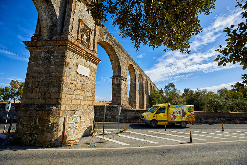 The Roman aqueduct in the town of Evora in south central Portugal