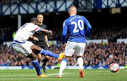 Kurt Zouma of Chelsea fires a shot at goal  - Mandatory byline: Matt McNulty/JMP - 07966386802 - 12/09/2015 - FOOTBALL - Goodison Park -Everton,England - Everton v Chelsea - Barclays Premier League