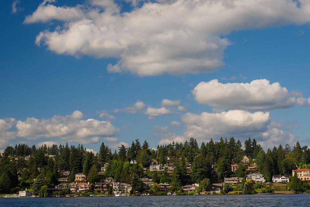 United States, Washington, Bellevue. Residential neighborhood overlooking Lake Washington.