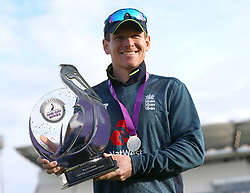 File photo dated 19-05-2019 of England's captain Eoin Morgan with the Royal London One-Day Series trophy during the One Day International match at Emerald Headingley, Leeds.