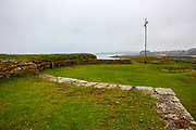 La batterie du C'hleguer, Ile de Batz, Brittany, France. Coastal defenses in the wars against England, constructed in 1710, but which went out of use in 1883.