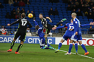 the ball falls for Glenn Murray of Brighton & Hove Albion (17) to 'score' a late goal but it is disallowed after Shane Duffy ©  fouls Cardiff city player Sol Bamba in the build up. EFL Skybet championship match, Cardiff city v Brighton & Hove Albion at the Cardiff city stadium in Cardiff, South Wales on Saturday 3rd December 2016.<br /> pic by Andrew Orchard, Andrew Orchard sports photography.