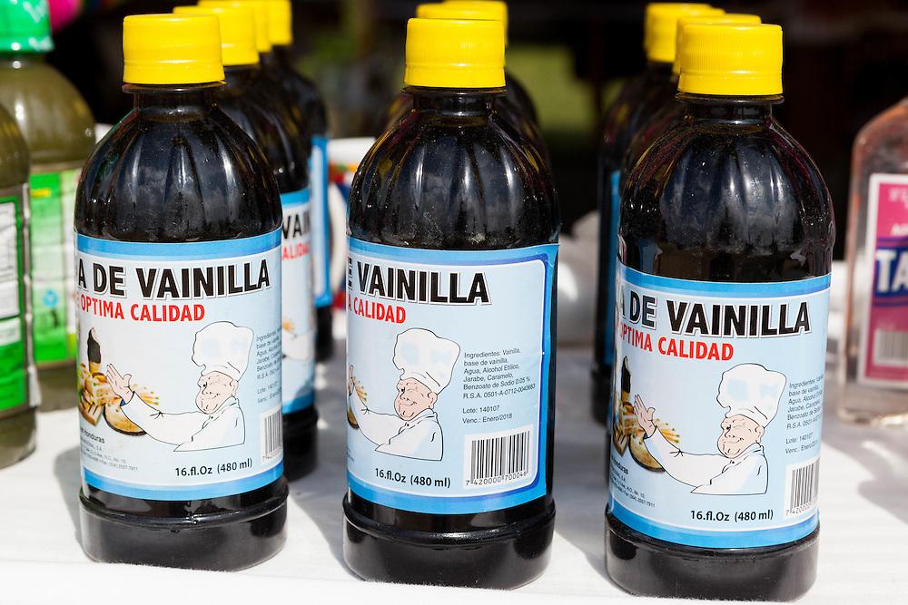 Bottles of vanilla (vainilla) on store shelf in Mexico.