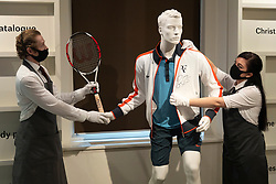 © Licensed to London News Pictures. 21/06/2021. London, UK. Roger Federer's champion outfit from the French Open 2009 tennis championships with an estimate of  £50,000,70,000 is on display as part of the Roger Federer Collection at Christies Auction House. Proceed from the evening and online sale will benefit the RF Foundation. Photo credit: Ray Tang/LNP