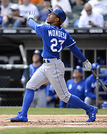 CHICAGO - APRIL 17:  Adalberto Mondesi #27 of the Kansas City Royals bats against the Chicago White Sox on April 17, 2019 at Guaranteed Rate Field in Chicago, Illinois.  (Photo by Ron Vesely)  Subject:   Adalberto Mondesi
