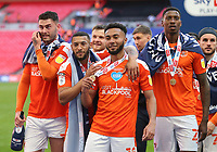 Blackpool's Gary Madine, Keshi Anderson, Grant Ward and Marvin Ekpiteta<br /> <br /> Photographer Rob Newell/CameraSport<br /> <br /> The EFL Sky Bet League One Play-Off Final - Blackpool v Lincoln City - Sunday 30th May 2021 - Wembley Stadium - London<br /> <br /> World Copyright © 2021 CameraSport. All rights reserved. 43 Linden Ave. Countesthorpe. Leicester. England. LE8 5PG - Tel: +44 (0) 116 277 4147 - admin@camerasport.com - www.camerasport.com