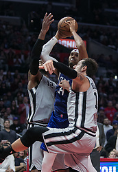 November 15, 2018 - Los Angeles, California, U.S - Tobias Harris #34 of the Los Angeles Clippers drives between two defenders during their NBA game with the San Antonio Spurs on Thursday November 15, 2018 at the Staples Center in Los Angeles, California. Clippers defeat Spurs, 116-111. (Credit Image: © Prensa Internacional via ZUMA Wire)