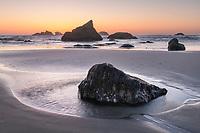 Twilight over Bandon Beach at low tide, Bandon Oregon