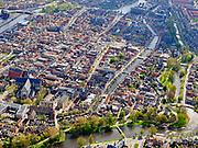 Nederland, Noord-Holland, Alkmaar, 07-05-2021; binnenstad Alkmaar, zuidwestelijk deel met Nieuwlandersingel en molen van Piet, Oudegracht.<br /> City center Alkmaar, southwestern part with Nieuwlandersingel and 'Piet's mill', Oudegracht.<br /> <br /> luchtfoto (toeslag op standaard tarieven);<br /> aerial photo (additional fee required)<br /> copyright © 2021 foto/photo Siebe Swart