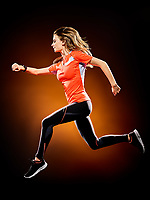 one caucasian young woman runner running jogger jogging isolated on black brackground