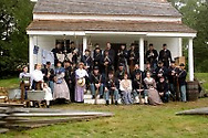 Members of the 124th New York State Volunteers and their families pose for a photograph during a Civil War reenactment at the Orange County Farmers Museum on Sept. 23, 2006.