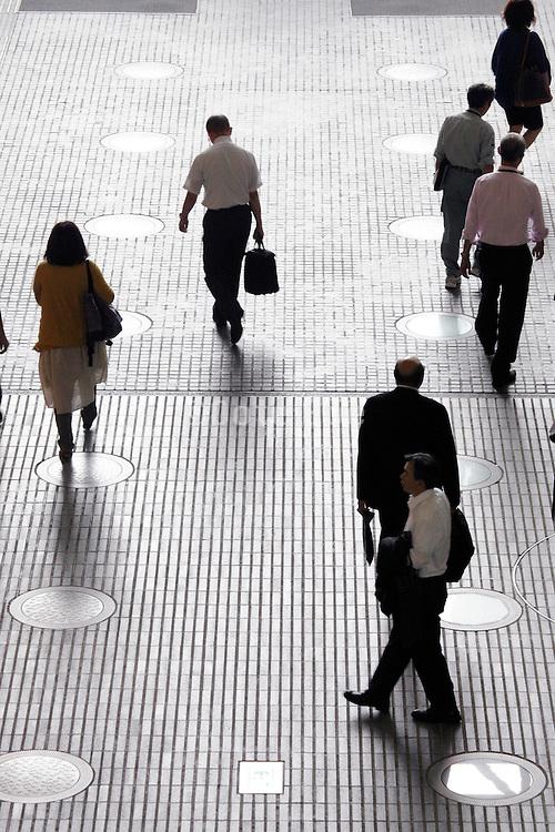 office workers walking