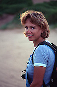 Kay backpacking in sand dunes near Beaver, Oklahoma