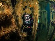 KISS rebreather scuba diver on the Aeolus Shipwreck in North Carolina, USA