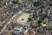 Nederland, Limburg, Gemeente Maastricht, 27-05-2013; <br /> Close-up van Vrijthof met terrassen en muziektent in het historische centrum vam Maastricht, rode toren van de Sint Janskerk staat naast de Sint Servaasbasiliek, achter de kerk Onder de Bogen: Sint Servaasklooster, witte gebouw midden beneden Museum aan het Vrijthof.<br /> Vrijthof with terraces and bandstand in the historic center of Maastricht, red tower of St Jan's Church is next to the Basilica of St. Servaas.<br /> luchtfoto (toeslag op standaardtarieven);<br /> aerial photo (additional fee required);<br /> copyright foto/photo Siebe Swart.