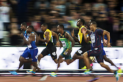 August 5, 2017 - London, England - The Finish Line. In 9.92 seconds history was made. As American JUSTIN GATLIN 35, wins the 100 Metre Men's finals gold, edging out his countryman and youngest racer, CHRISTIAN COLEMAN 21, in  9.94, for the Silver, then the crowd  favorite, legendary Jamaican sprinter, in his last solo track race, USAIN BOLT 30, in 9.95, for the Bronze, 4th his team-mate YOHAN BLAKE, 27, in 9.99, 5th South Africa's AKININ SIMBINE 23, in 10.01, 6th Frenchmen JIMMY VICAUT 25, in 10.08. (Credit Image: © Joel Marklund/Bildbyran via ZUMA Wire)