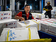 06 JUNE 2018 - SEOUL, SOUTH KOREA: Porters unload trucks bringing fresh fish into the Noryangjin Fish Market before the morning wholesale auctions. The auctions start about 01.00 AM and last until 05.00 AM. Noryangjin Fish Market is the largest fish market in Seoul and has been in operation since 1927. It opened in the current location in 1971 and was renovated in 2015. The market serves both retail and wholesale customers and has become a tourist attraction in recent years.      PHOTO BY JACK KURTZ