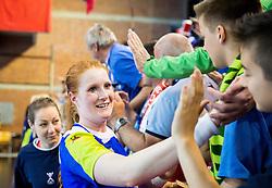Lina Krhlikar of Slovenia celebrates after winning the handball game between Women National Teams of Slovenia and Switzerland in 2014 Women's European Championship Qualification, on March 30, 2014 in Arena Kodeljevo, Ljubljana, Slovenia. Photo by Vid Ponikvar / Sportida