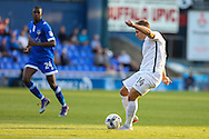 Sam Hoskins of Northampton Town has a shot during the EFL Sky Bet League 1 match between Oldham Athletic and Northampton Town at Boundary Park, Oldham, England on 16 August 2016. Photo by Simon Brady.
