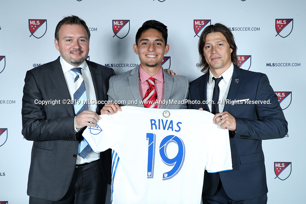 CHICAGO, IL - JANUARY 11: Sergio Rivas was taken with the 26th overall pick by the San Jose Earthquakes. With general manager Jesse Fioranelli (left) and head coach Matias Almeyda (right). The MLS SuperDraft 2019 presented by adidas was held on January 11, 2019 at McCormick Place in Chicago, IL.