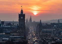 Edinburgh, Scotland, UK. 27 February, 2019. View at sunset along Princes Street  from Calton Hill in Edinburgh
