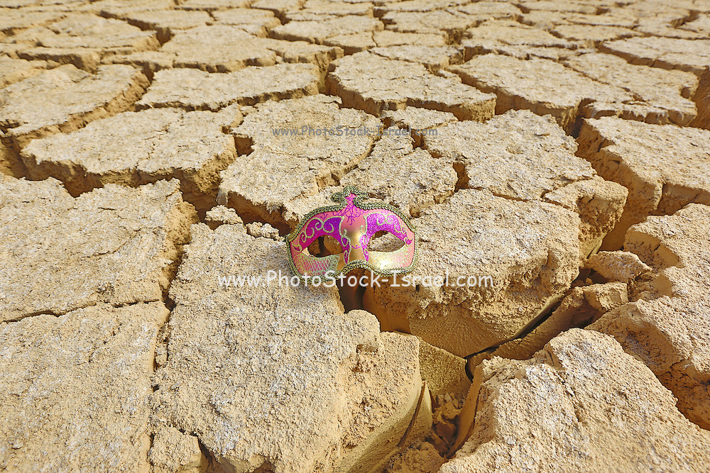 Carnival mask on dry cracked mud