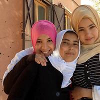 Africa, Morocco, Touroug. Three young girls of Touroug, Morocco.