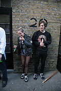 ALICE DELLAL AND JAMES JAGGER,  Twenty Hoxton Square. Opening exhibition of new gallery at Twenty Hoxton Square. -DO NOT ARCHIVE-© Copyright Photograph by Dafydd Jones. 248 Clapham Rd. London SW9 0PZ. Tel 0207 820 0771. www.dafjones.com.