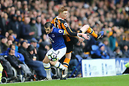 Leighton Baines of Everton and Sam Clucas of Hull City battle for the ball. Premier league match, Everton v Hull city at Goodison Park in Liverpool, Merseyside on Saturday 18th March 2017.<br /> pic by Chris Stading, Andrew Orchard sports photography.