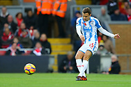 Chris Lowe of Huddersfield Town in action. Premier League match, Liverpool v Huddersfield Town at the Anfield stadium in Liverpool, Merseyside on Saturday 28th October 2017.<br /> pic by Chris Stading, Andrew Orchard sports photography.