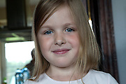 Portrait of a happy French girl age 8. Zawady Central Poland