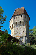 Defensive tower of Sighisoara Saxon fortified medieval citadel, Transylvania, Romania .<br /> <br /> Visit our ROMANIA HISTORIC PLACXES PHOTO COLLECTIONS for more photos to download or buy as wall art prints https://funkystock.photoshelter.com/gallery-collection/Pictures-Images-of-Romania-Photos-of-Romanian-Historic-Landmark-Sites/C00001TITiQwAdS8<br /> .<br /> Visit our MEDIEVAL PHOTO COLLECTIONS for more   photos  to download or buy as prints https://funkystock.photoshelter.com/gallery-collection/Medieval-Middle-Ages-Historic-Places-Arcaeological-Sites-Pictures-Images-of/C0000B5ZA54_WD0s