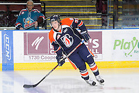 KELOWNA, CANADA, FEBRUARY 11: Landon Cross #33 of the Kamloops Blazers warms up on the ice as the Kamloops Blazers visit the Kelowna Rockets on February 11, 2012 at Prospera Place in Kelowna, British Columbia, Canada (Photo by Marissa Baecker/www.shootthebreeze.ca) *** Local Caption ***