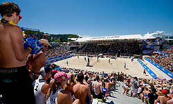 View from the top on the court at A1 Beach Volleyball Grand Slam tournament of Swatch FIVB World Tour 2010, bronze medal, on August 1, 2010 in Klagenfurt, Austria. (Photo by Matic Klansek Velej / Sportida)