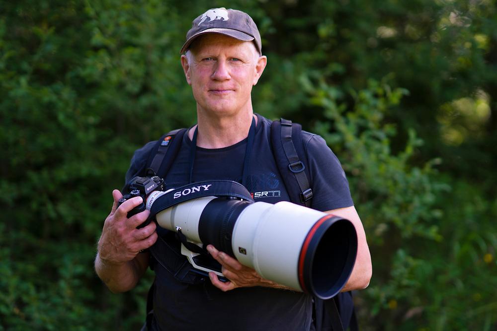 Photographer Staffan Widstrand with SONY gear, Malingsbo-Kloten nature reserve, Vastmanland, Sweden