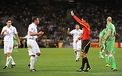 18.01.2010, Green Point Stadium, Cape Town, RSA, FIFA WM 2010, England (ENG) vs Algeria (ALG), im Bild Jamie Carragher of England gets a yellow card. EXPA Pictures © 2010, PhotoCredit: EXPA/ IPS/ Marc Atkins / SPORTIDA PHOTO AGENCY
