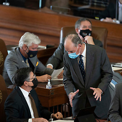 Austin, TX USA March 31, 2021:  State Rep. Tracy King, D-Uvalde, on the floor of the Texas House of Representatives during routine bill readings at the 87th Texas legislative session. Emergency bills include power company regulation, border security and the coronavirus response.