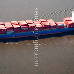 Aerial view of  Container ship, Shipping Traffic Along the Delaware River, outside of Philadelphia