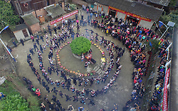 Photo taken on March 10, 2016 shows an aerial view of people of Dong ethnic group attending a local ceremony during a traditional festival, which falls on the second day of the second month in the Chinese lunar calendar, in Meilin Township under Dong Autonomous County of Sanjiang, south China's Guangxi Zhuang Autonomous Region. EXPA Pictures © 2016, PhotoCredit: EXPA/ Photoshot/ Huang Xiaobang<br /> <br /> *****ATTENTION - for AUT, SLO, CRO, SRB, BIH, MAZ, SUI only*****