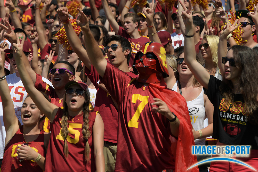Sep 10, 2016; Los Angeles, CA, USA; USC Trojans fan dressed as Star Wars character Darth Vader reacts during a NCAA football game against the Utah State Aggies at Los Angeles Memorial Coliseum.