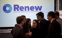 © Licensed to London News Pictures. 19/02/2018. London, UK. The launch event for Renew, a new anti-Brexit political party, at the Queen Elizabeth II Conference Centre in London. The Renew party, which is taking advice from representatives of Emmanuel Macron's En Marche, has recruited some 220 candidates to stand in local and national elections. Photo credit: Ben Cawthra/LNP