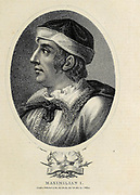 Maximilian I (22 March 1459 – 12 January 1519) was King of the Romans from 1486 and Holy Roman Emperor from 1508 until his death. He was never crowned by the pope, as the journey to Rome was always too risky. He was instead proclaimed emperor elect by Pope Julius II at Trent, thus breaking the long tradition of requiring a Papal coronation for the adoption of the Imperial title. Maximilian was the son of Frederick III, Holy Roman Emperor, and Eleanor of Portugal. Copperplate engraving From the Encyclopaedia Londinensis or, Universal dictionary of arts, sciences, and literature; Volume VIII;  Edited by Wilkes, John. Published in London in 1810.