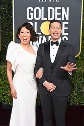 January 6, 2019 - Beverly Hills, California, U.S. - Presenters SANDRA OH and ANDY SAMBERG during red carpet arrivals for the 76th Annual Golden Globe Awards at The Beverly Hilton Hotel. (Credit Image: © Kevin Sullivan via ZUMA Wire)