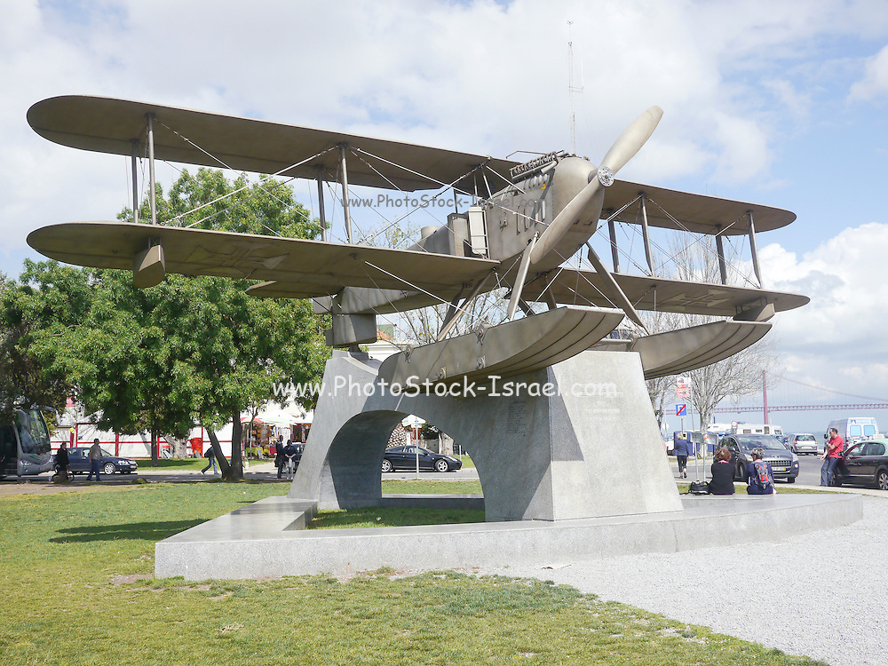 A monument of two fliers, Gago Coutinho and Sacadura Cabral who flew in their bi-plane from Lisbon to Rio de Janeiro in 1922 Replica of Fairey 17 First plane to make south Atlantic crossing