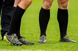 Rainbow colours on the Gallagher Premiership Rugby RFU Match Officials boots prior to kick off  - Mandatory by-line: Ryan Hiscott/JMP - 24/11/2018 - RUGBY - Sandy Park Stadium - Exeter, England - Exeter Chiefs v Gloucester Rugby - Gallagher Premiership Rugby