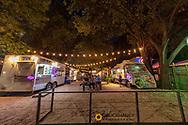 Food Truck Court along Rainey Street in downtown Austin, Texas, USA