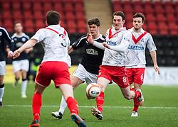 Airdrie United's Grant Evans. Falkirk's Stewart Murdoch . Airdrie United's Sean Lynch and Airdrie United's Steven Hetherington..Airdrie United 0 v 1 Falkirk, 30/3/2013..©Michael Schofield..